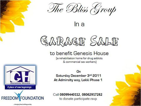 The Bliss Group Presents: A Garage Sale to benefit Genesis House